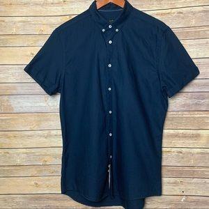 [Zara] Slim Fit Navy Blue Short Sleeve Shirt